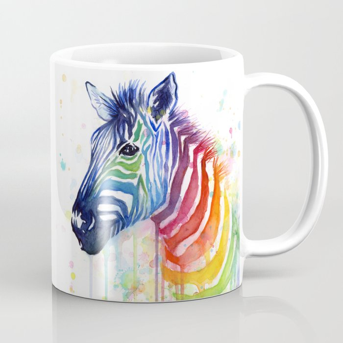 Zebra Watercolor Rainbow Animal Painting Ode to Fruit Stripes Coffee Mug
