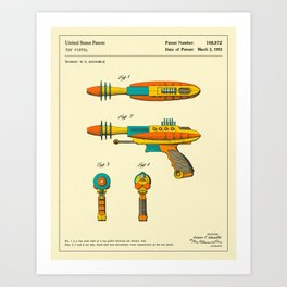 RAY GUN Patent (1953) Reproduction Art Print