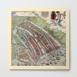 Map Of Amsterdam 1544 Metal Print