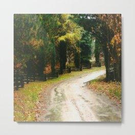 Fall Country Road Split Rail Fence Metal Print