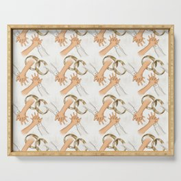 Hand By Hand Wedding Pattern Serving Tray