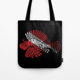Tribal Scuba Flag Lionfish Tote Bag