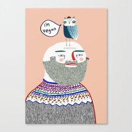 I'm Vegan. Vegan art, vegan, illustration, funny, vegan print Canvas Print