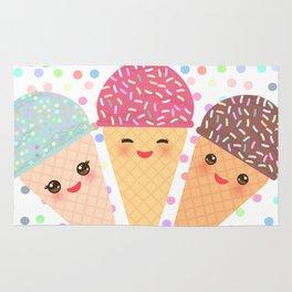 Hello Summer Kawaii Ice cream waffle cone Rug