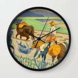 Asano Takeji Rice Transplantation Vintage Japanese Woodblock Print Asian Farmers Sedge Hat Wall Clock