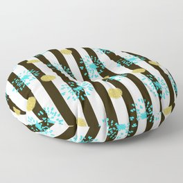 A festive mood. Striped background black and white with blue fireworks and Golden peas . Floor Pillow