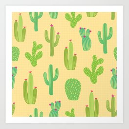 Colorful cactus desert illustration pattern. Green cactuses on yellow. Art Print