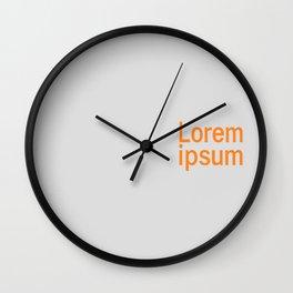 Lorem ipsum minimalism typography simple background digital simple gray orange Wall Clock