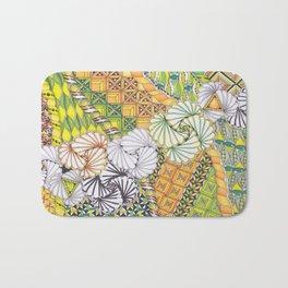 Zentangle Inspired Art (ZIA) in spring tones of green, yellow and orange Bath Mat