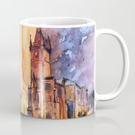 Watercolor painting of church at sunset in the Stare Mesto neighborhood of Old Town Prague Coffee Mug