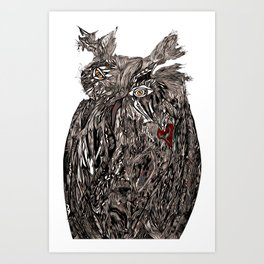Owl Abstract by Greg Phillips Art Print