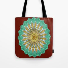 Lovely Healing Mandala  in Brilliant Colors: Burnt Orange, Green, Wheat, Gray, and White Tote Bag