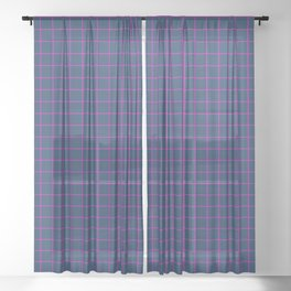 Grid Pattern - navy and magenta - more colors Sheer Curtain