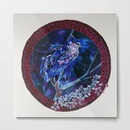 Dark-crowned Night Heron and Tamarisk Metal Print