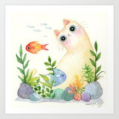 The Aquarium Cat Art Print
