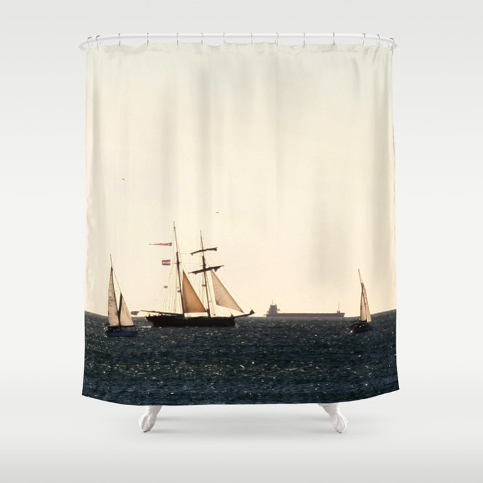 Sailboats In A Windy Day Shower Curtain