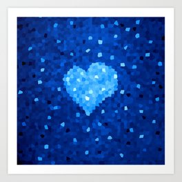 Winter Blue Crystallized Abstract Heart Art Print
