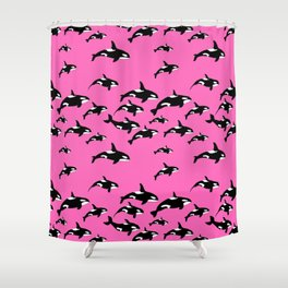 Killer Whales Orca Pod on Hot Pink Pattern Shower Curtain