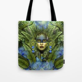 """Tropical green and indigo jungle Woman"" Tote Bag"