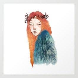 Berries Crown Girl Art Print