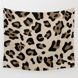 Big Beige and Brown Leopard Spots Wall Tapestry