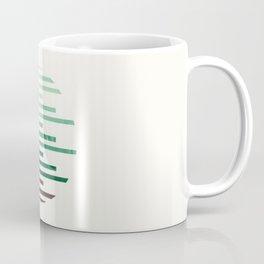 Mid Century Modern Minimalist Circle Round Photo Aquamarine Teal Green Staggered Stripe Pattern Coffee Mug
