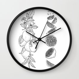 Citrus Branch of Lemons and Slices of Fruit Wall Clock