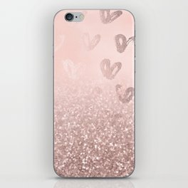 Rose Gold Sparkles on Pretty Blush Pink with Hearts iPhone Skin