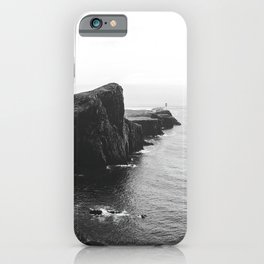 Scottish coastline black and lonely lighthouse – Minimalist Landscape Photography iPhone Case