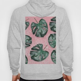 Modern 3d green tropical monstera leaf photo on blush pink white floral illustration Hoody