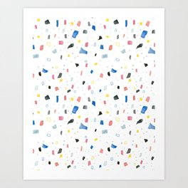 Abstract colorful dots and squares shapes painting print Art Print