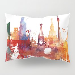 Moscow Watercolor Skyline Pillow Sham