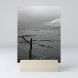 Black and white minimal lakescape Mini Art Print