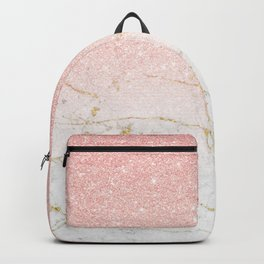 Rose Gold Glitter and gold white Marble Backpack