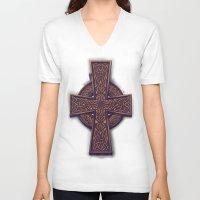 celtic V-neck T-shirts featuring Celtic Cross by pakowacz