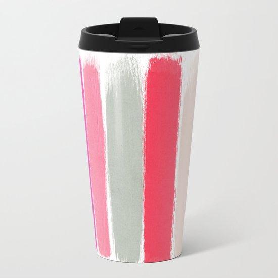 Minnie - Abstract Brushstroke pattern print in modern colors gold pink Metal Travel Mug