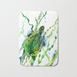 Green Turtle Olive green Wall art Bath Mat