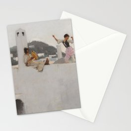 Classical Masterpiece Capri Girl on a Rooftop by John Singer Sargent Stationery Cards
