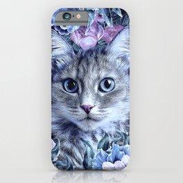 Cat In Flowers. Winter iPhone Case