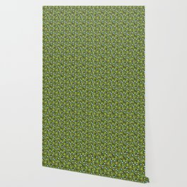 Apple green and dark blue flower-pattern on olive background Wallpaper