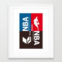 nba Framed Art Prints featuring NBA. Muscles or Brain ? by Vintage Deco Print Posters
