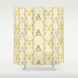 Kudu and disa pattern in gold and wine Shower Curtain