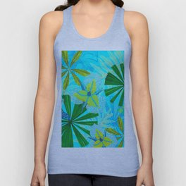 My blue abstract Aloha Tropical Jungle Garden Unisex Tank Top