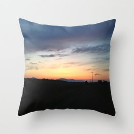 Wire Road sunset Throw Pillow