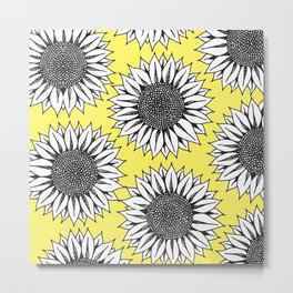 Yellow Sunflower in Black and White Hand Drawing Metal Print