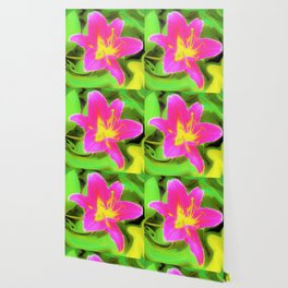 Dramatic Deep Pink and Yellow Lily on Green Wallpaper