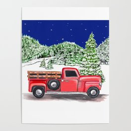 Old Red Farm Truck Winter Poster