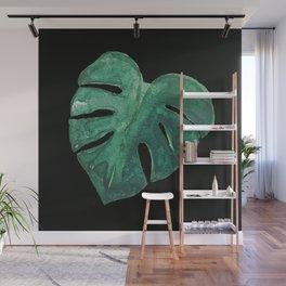 Monstera Leaf on Black Wall Mural