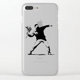 Rage, Flower Thrower - Banksy Clear iPhone Case
