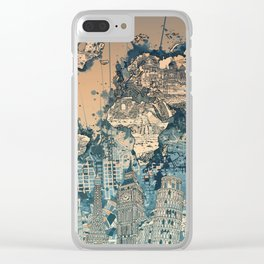 world map city skyline Clear iPhone Case